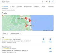 Wizytówka Google Moja firma - przykład