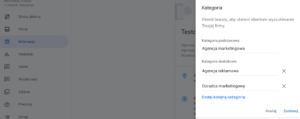Ustawianie kategorii w Google Moja Firma
